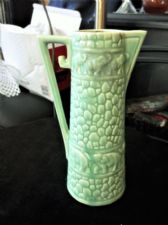 VINTAGE JUG DECO GREEN TEXTURED POTTERY DELCROFT WARE 320 ELEPHANT TRAIN BANDS